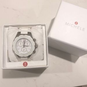 Michele white Tahitian Jelly Bean watch